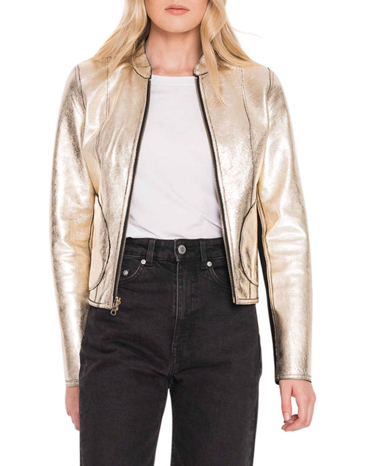 LaMarque Chapin Reversible Black/Gold Leather Bomber Jacket