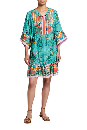 Johnny Was Plus Plus Size Taina Short Coverup Dress