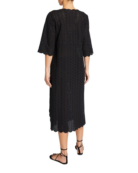 Image 2 of 2: Tory Burch Broderie Midi Beach Coverup Tunic