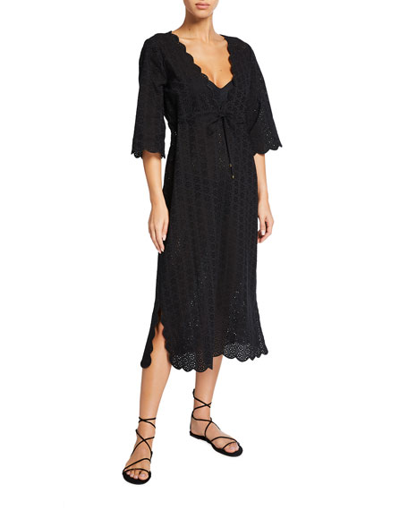 Image 1 of 2: Tory Burch Broderie Midi Beach Coverup Tunic