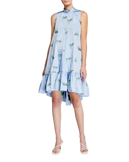 Image 1 of 2: REDValentino Mock-Neck Sleeveless High-Low Dress