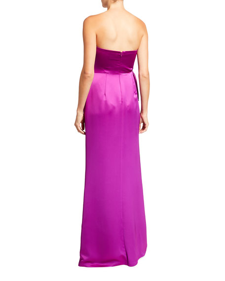 Image 2 of 2: Aidan Mattox Strapless Satin Side-Slit Gown