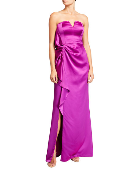 Image 1 of 2: Aidan Mattox Strapless Satin Side-Slit Gown