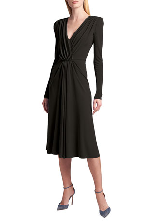 Giorgio Armani Draped Long-Sleeve Jersey Faux-Wrap Dress
