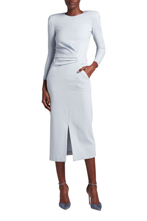 Giorgio Armani Draped Front-Slit Jersey Knit Dress