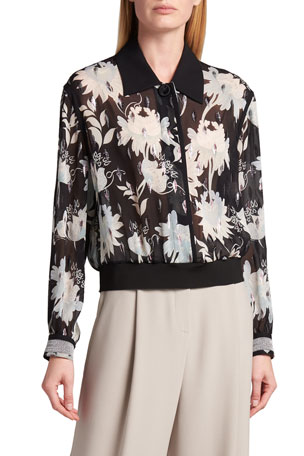 Giorgio Armani Floral Metallic Lame Button-Down Blouse