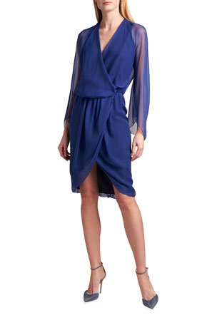 Giorgio Armani Silk Chiffon Draped Dress
