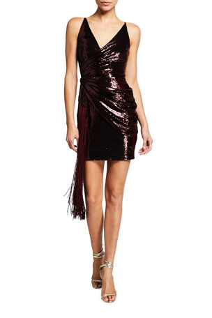 Dress The Population Alida Ruched Sequin Mini Dress