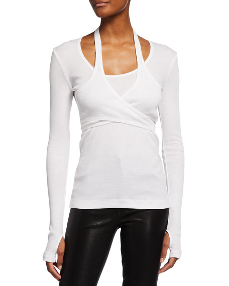 Image 1 of 2: Helmut Lang Wrapped Long-Sleeve Tee