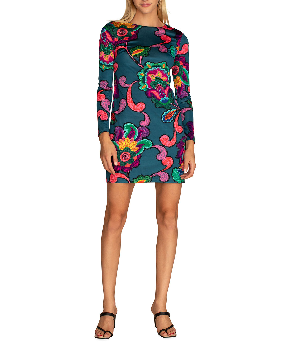 Trina Turk Camellia 2 Long-Sleeve Mini Body-Con Dress