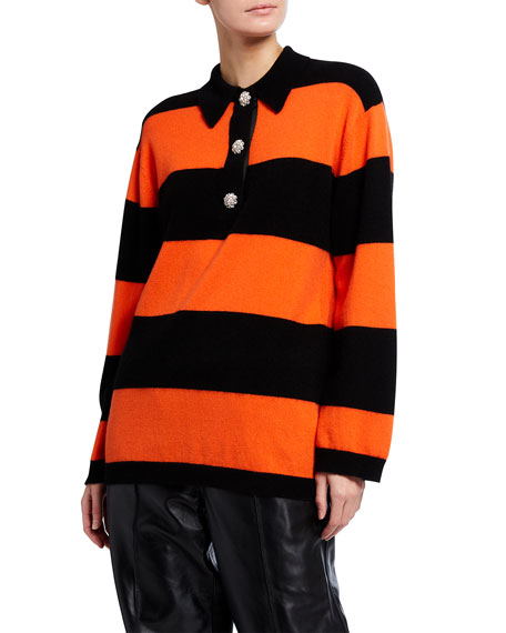 Image 2 of 3: Ganni Striped Cashmere Knit Polo Top