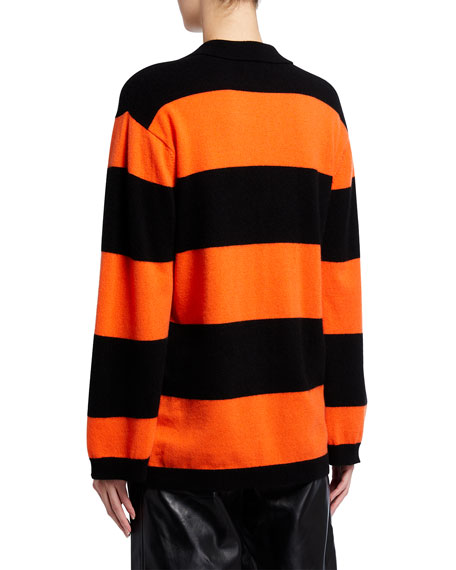 Image 3 of 3: Ganni Striped Cashmere Knit Polo Top