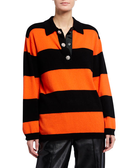 Image 1 of 3: Ganni Striped Cashmere Knit Polo Top