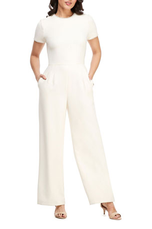 Gal Meets Glam Collection Crewneck Short-Sleeve Jumpsuit with Faux-Pearl Detail