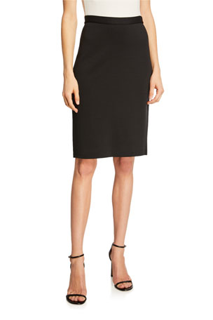 St. John Collection Milano Knit Back-Zip Pencil Skirt