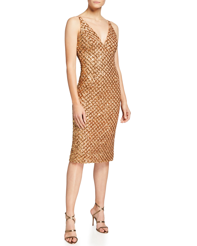 Dress The Population Luna Sequin V-Neck Bodycon Dress