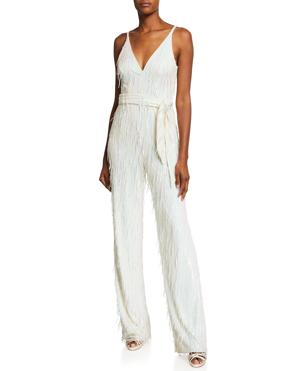 Dress The Population Kinsley V-Neck Sequined Fringe Jumpsuit