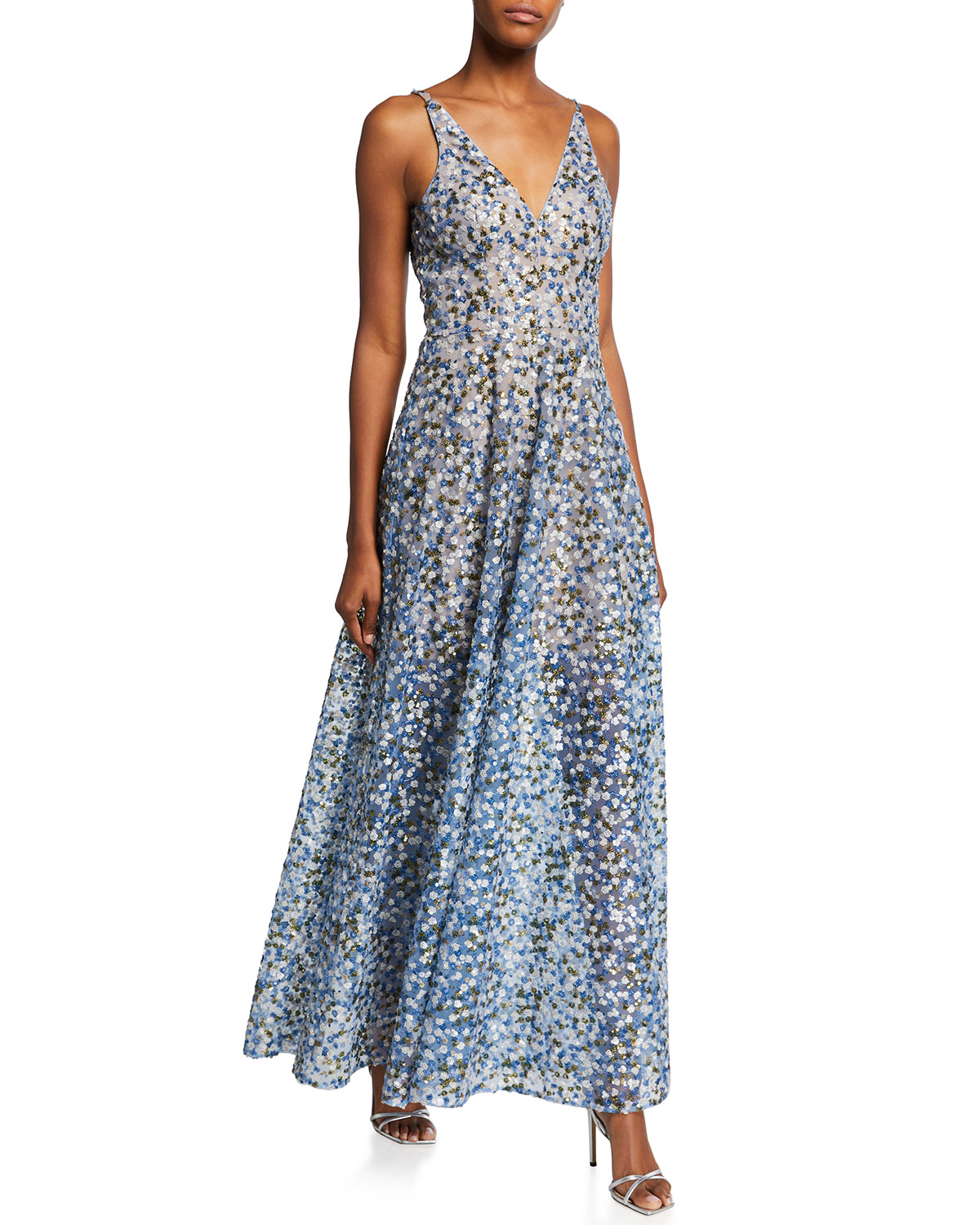 Dress The Population Ariyah V-Neck Sequin A-Line Gown