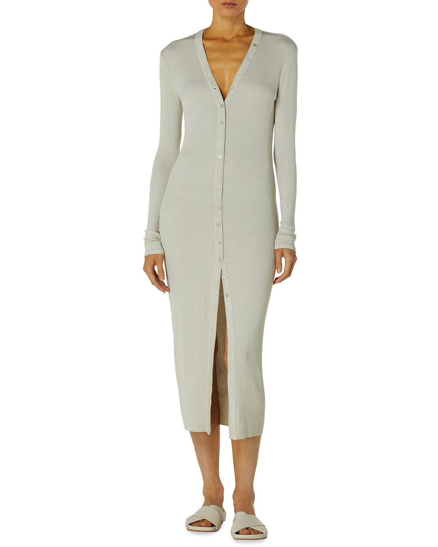 Enza Costa Silk Ribbed Cardigan Dress