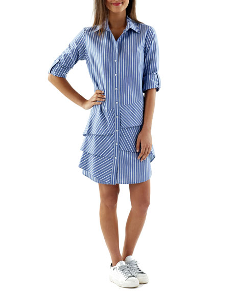 Finley Jenna Indigo Striped Flounce Shirtdress