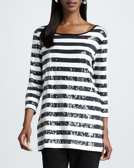 Striped Sequined Tunic, Women's