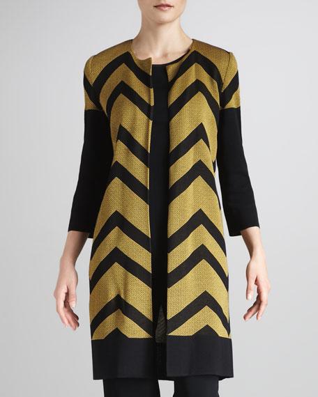 Chevron-Stripe Long Jacket, Women's