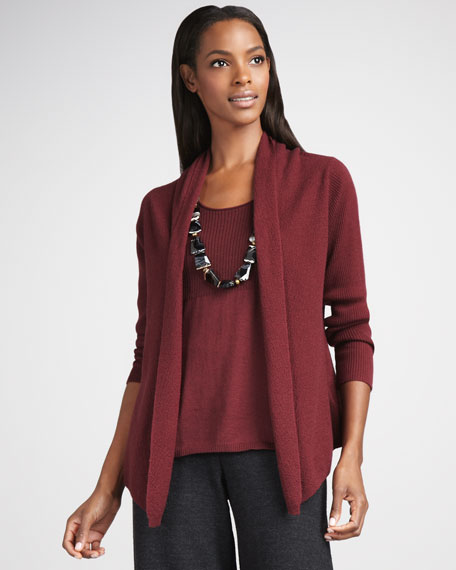 Eileen Fisher Washable Wool-Ribbed Cardigan, Women's