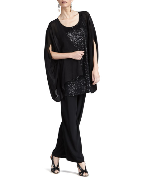 Silk-Georgette Pants, Women's