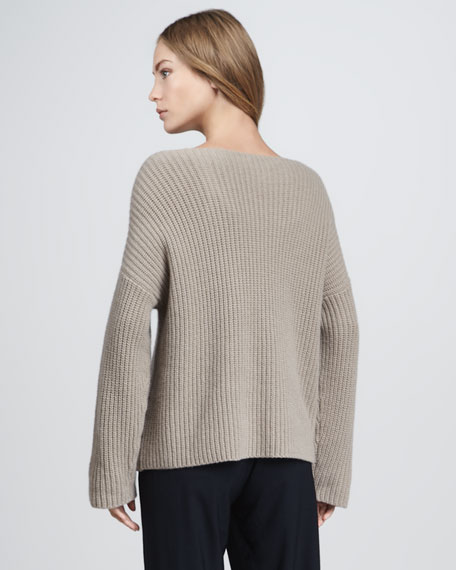 Chunky Boat-Neck Sweater, Sesame