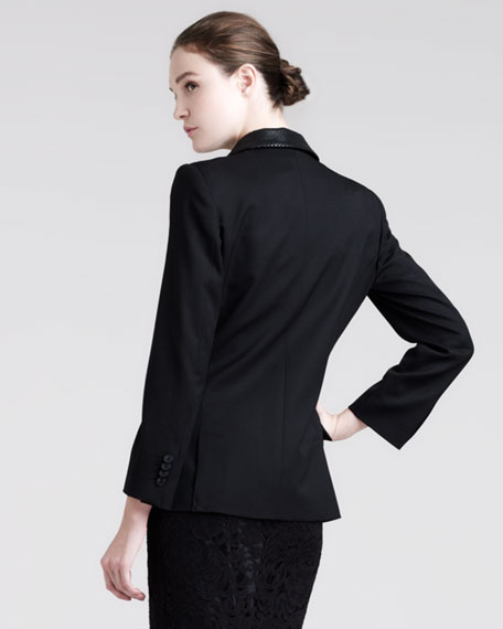 Embossed-Lapel Blazer