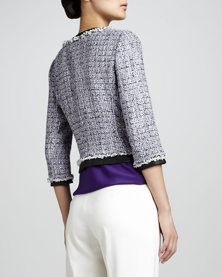 Marielle Cropped Leather-Trim Tweed Jacket