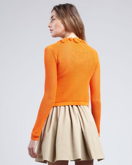 Cropped Crochet Cardigan, Mandarin