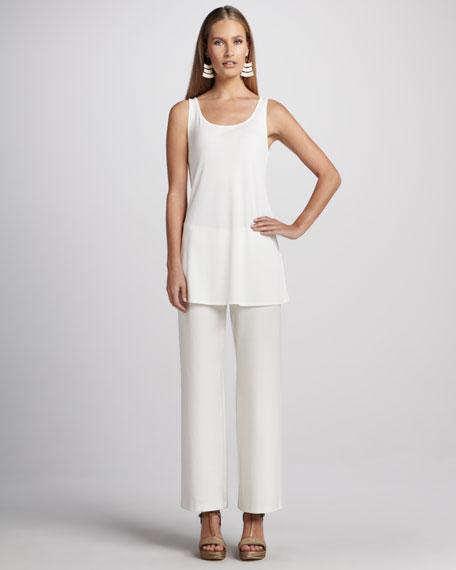 Washable Wide-Leg Crepe Pants, Women's