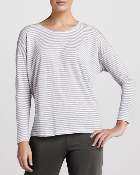 Striped Long-Sleeve Linen Top, Women's