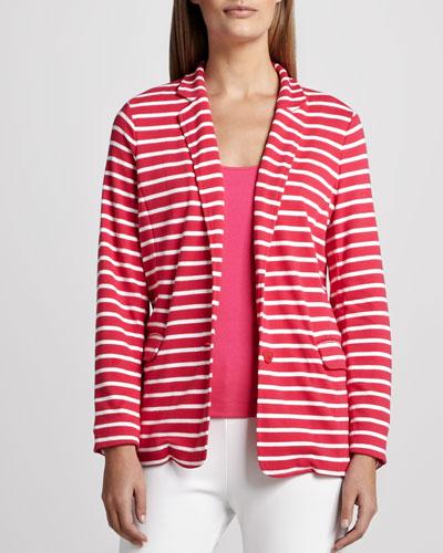 Joan Vass Striped Knit Jacket, Petite