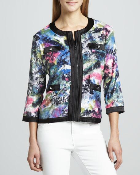 Sequined Print Zip Jacket, Petite