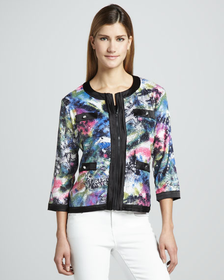 Sequined Print Zip Jacket, Women's