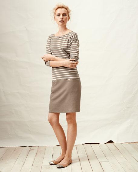 Striped Interlock Two-Zip Dress, Women's