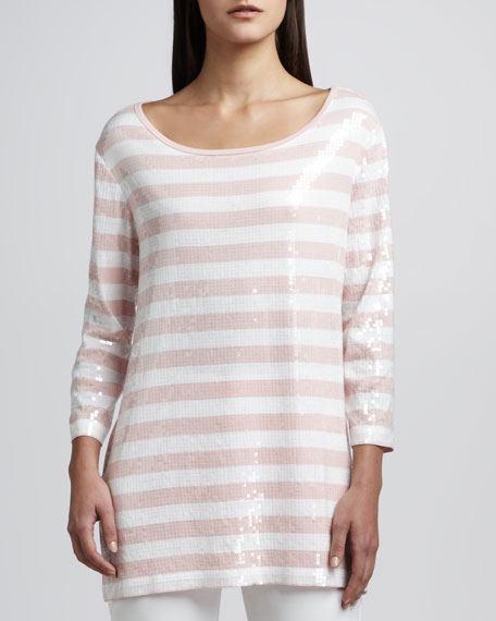 Sequined Striped Tunic, Petite