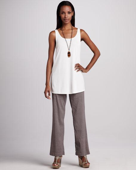 Linen-Blend Trousers, Petite