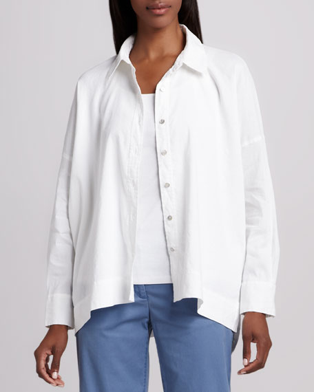 Classic Stretch-Linen Shirt, Petite