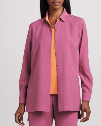Easy-Fit Colorblock Silk Shirt, Petite