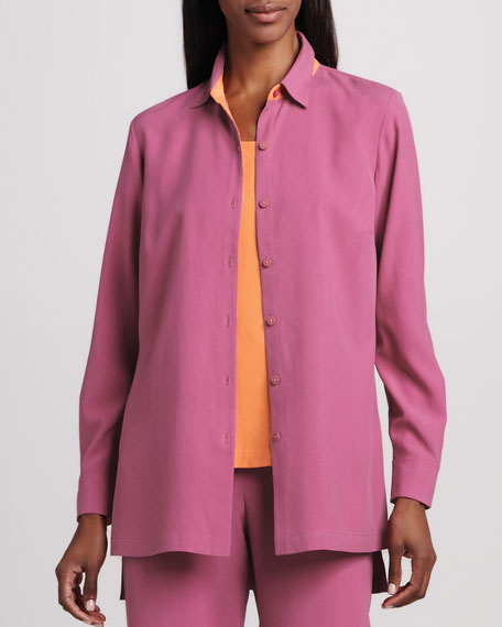 Easy-Fit Colorblock Silk Shirt, Women's
