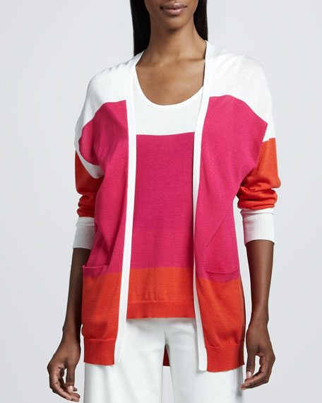 Easy Open Colorblock Cardigan, Petite