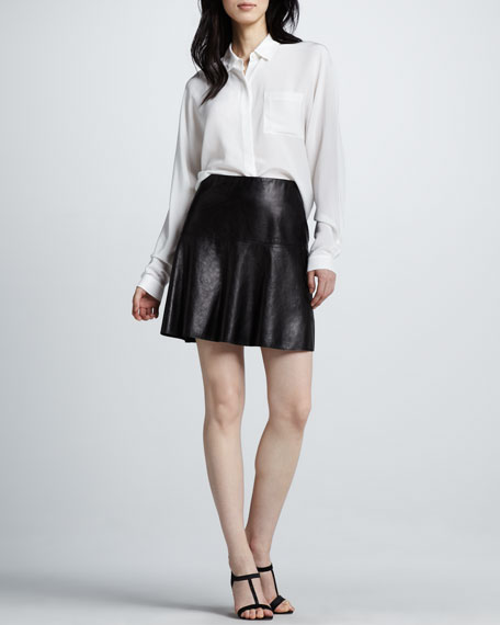 Vince Flared Leather Skirt