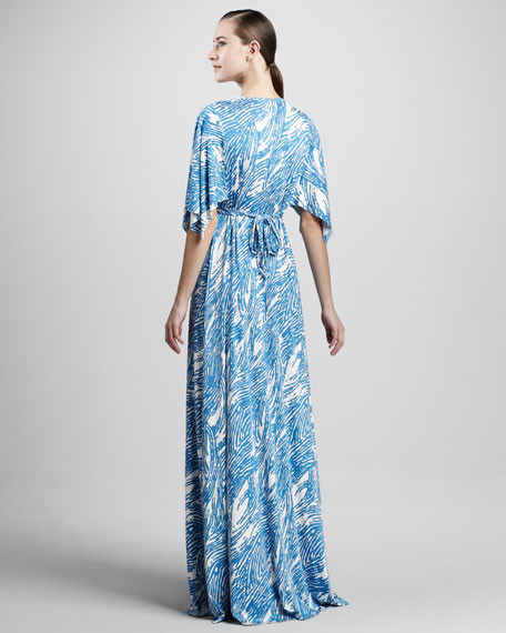 Mykonos Current Print Maxi Caftan Dress, Women's