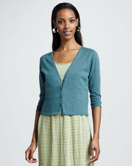 V-Neck Cropped Organic-Cotton/Cashmere Cardigan, Petite