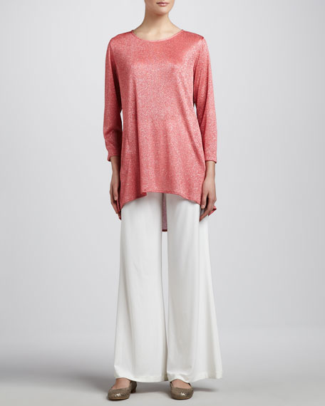 White Stretch-Knit Wide-Leg Pants, Petite