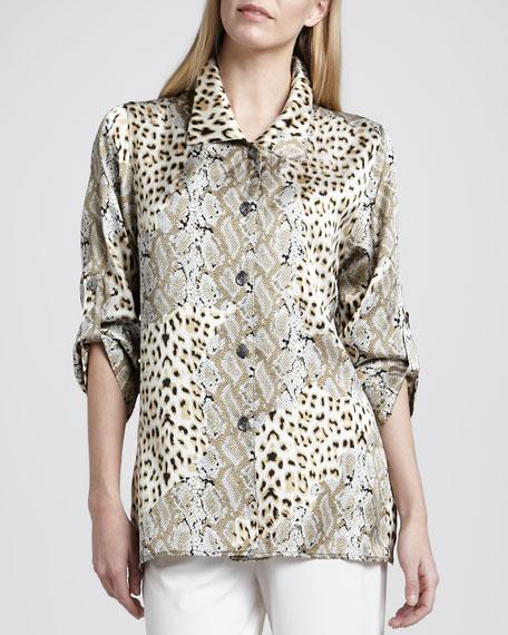 Mirage Collage Silk Shirt, Petite