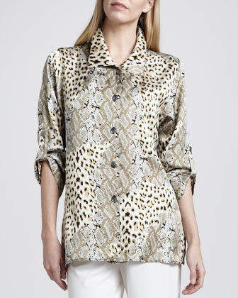 Mirage Collage Silk Shirt, Petite